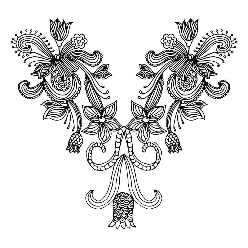 Moda del bordado del escote stock de ilustración