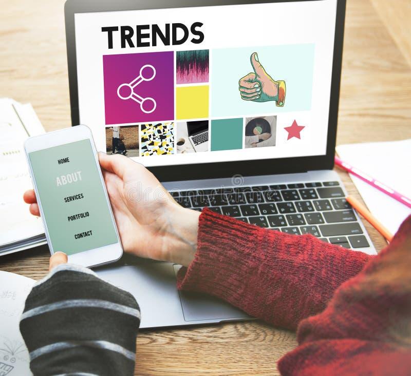 Moda del diseño de las tendencias que comercializa concepto moderno del estilo fotos de archivo