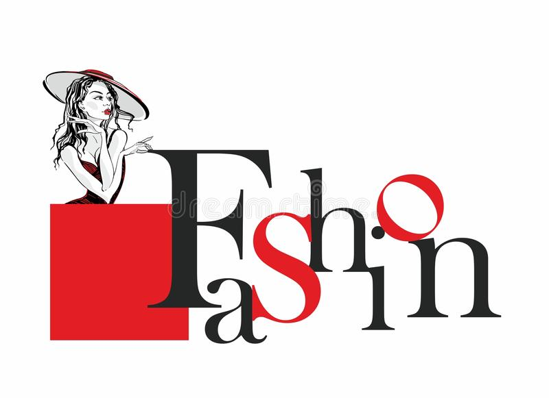 Moda Elegancki literowanie Dziewczyna model w kapeluszu Elegancka etykietka dla przemysłu mody piękno wektor royalty ilustracja