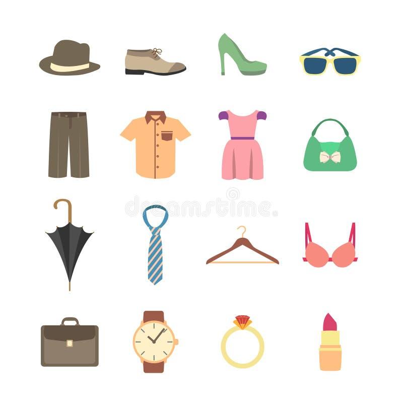 Moda i odzieżowe akcesoria ikony royalty ilustracja