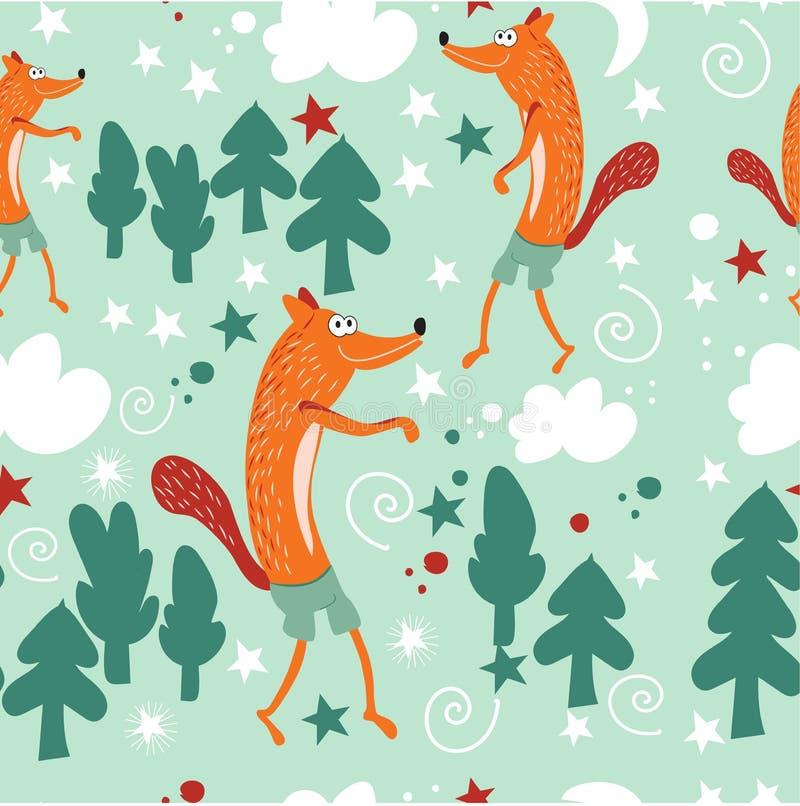 Moda inconsútil del bebé del modelo Los zorros rojos caminan en el bosque de hadas y el claro del bosque Fondo para un cuarto de  stock de ilustración
