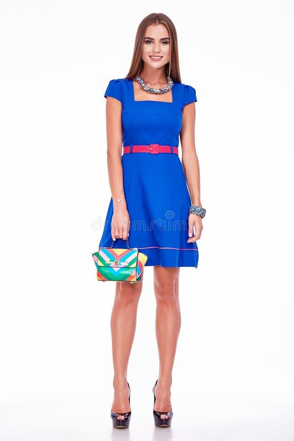 Moda katalogu stylu splendoru modela biznesowej kobiety odzieżowa suknia zdjęcia royalty free