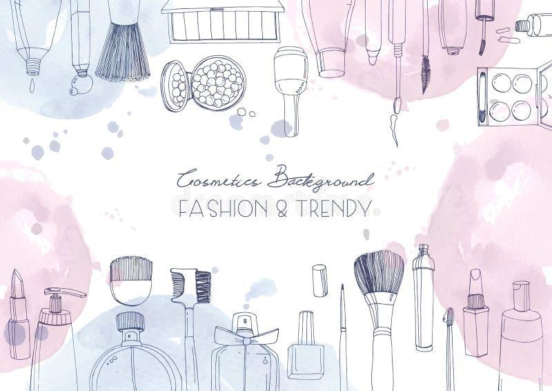 Moda kosmetyków horyzontalny tło z uzupełniał artystów przedmioty i akwarela punkty Wektorowa ręka rysująca ilustracja ilustracji