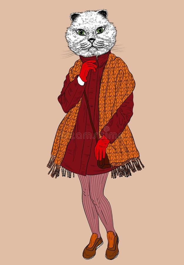 Moda kota portret ilustracja wektor
