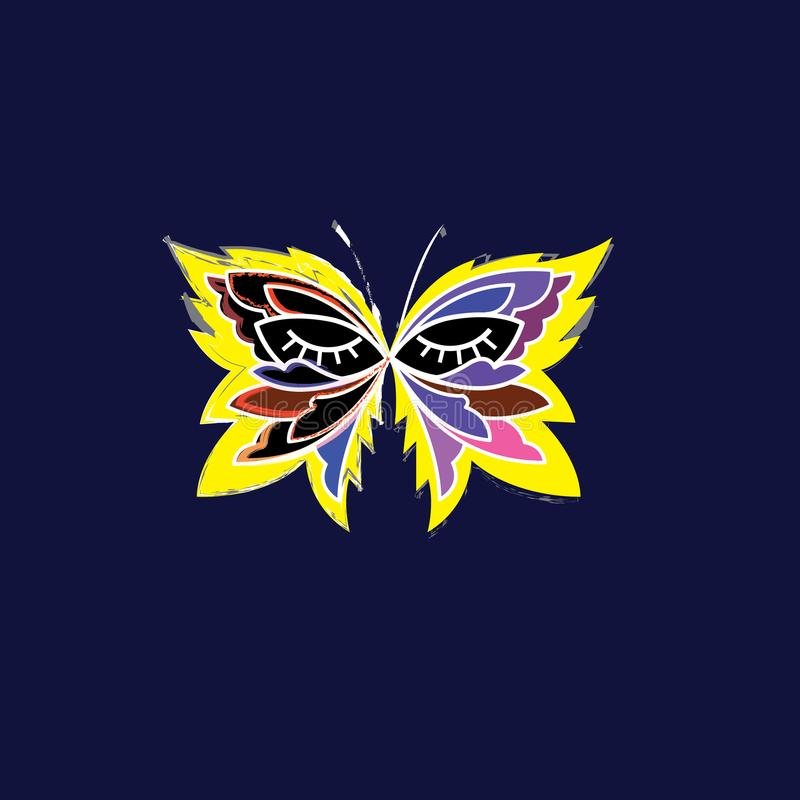 Moda loga projekta wektorowy szablon Luksusowy emblemat gdy tło czarny był motyl może target1209_2_ cmyk koloru projekta elementó ilustracja wektor