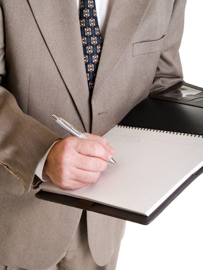 Moda - mężczyzna - biznesmen bierze notatki zdjęcie royalty free