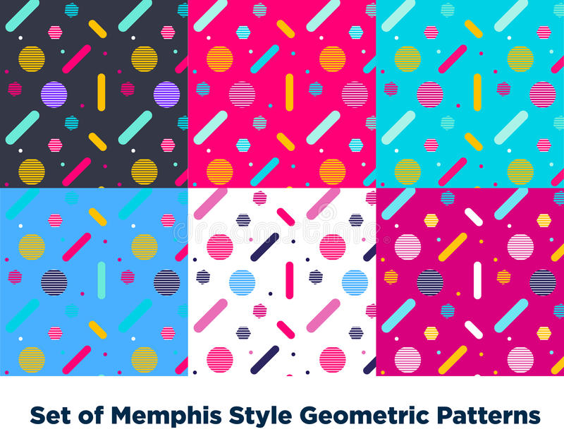 Moda Memphis Style Geometric Pattern del inconformista stock de ilustración