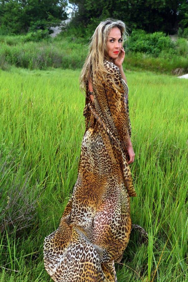 Moda model pozuje przy trawy polem jest ubranym zwierzęcą druku kurortu suknię obrazy stock