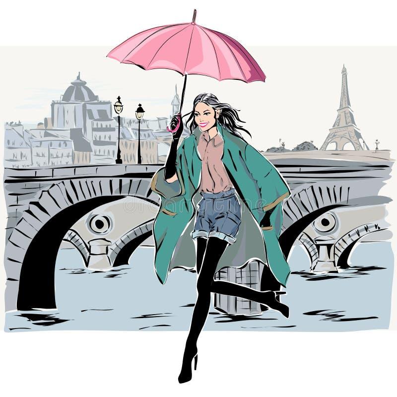 Moda model w nakreślenie stylu spadku zimie z Paryskim miasta tłem royalty ilustracja