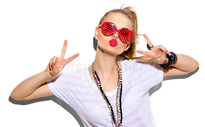 Moda modela dziewczyna Piękno blondynki kobiety elegancki pozować zdjęcie stock