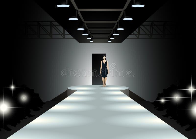 Moda modela odprowadzenia puszek wybieg ilustracja wektor