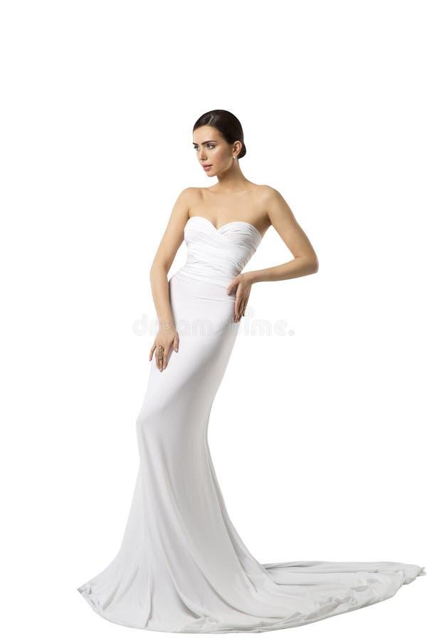 Moda modela panny młodej Ślubna suknia, kobiety piękna toga, Biała zdjęcie stock