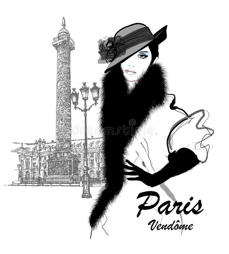 Moda modela Vendome niedaleka kolumna w Paryż ilustracja wektor