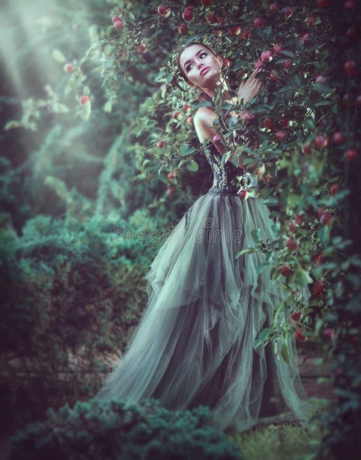 Moda modelo romántica de la muchacha de la belleza que presenta en los árboles del jardín, disfrutando de la naturaleza en manzan foto de archivo libre de regalías