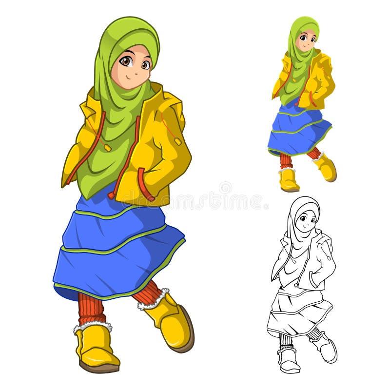 Moda musulmán de la muchacha que lleva velo o la bufanda verde con la chaqueta amarilla y las botas stock de ilustración