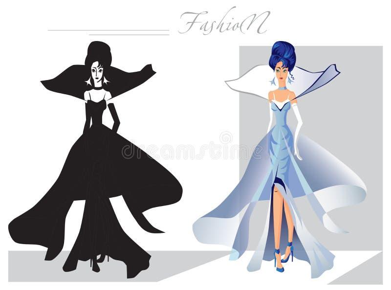 Moda na wybiegu śniegu królowej ilustracja wektor