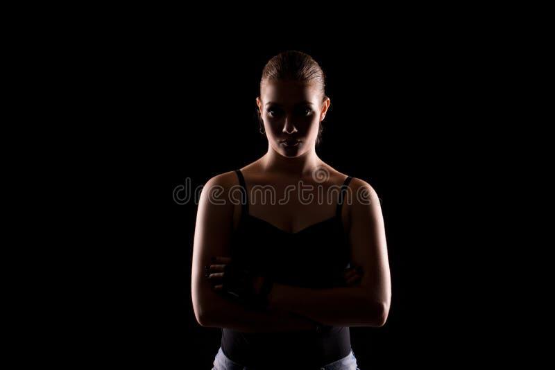 Moda portret młoda brunetka z koloru światłem zdjęcie royalty free