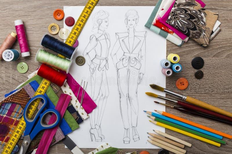 Moda projekta nakreślenie ilustracja wektor
