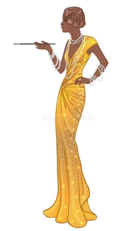 Moda retra: muchacha del encanto de la mujer del afroamericano de los años 20 stock de ilustración