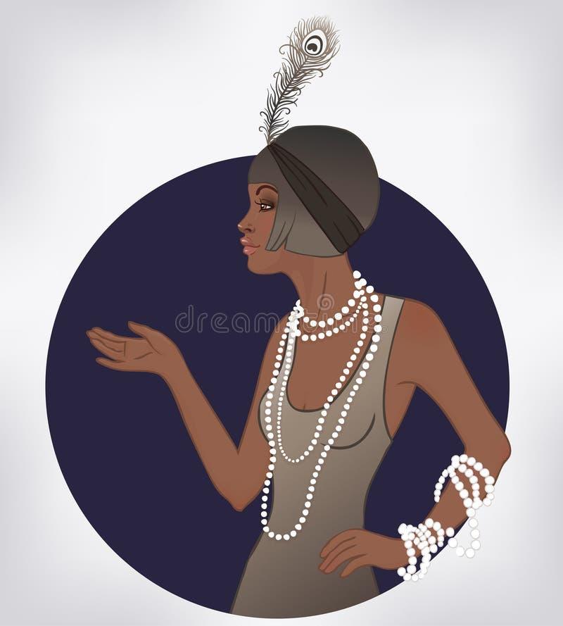 Moda retra: muchacha del encanto de la mujer del afroamericano de los años 20 libre illustration