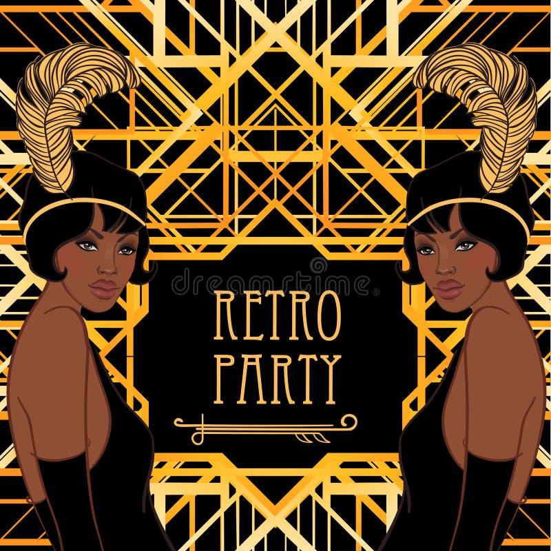 Moda retra: muchacha del encanto de los años 20 (mujer afroamericana) libre illustration