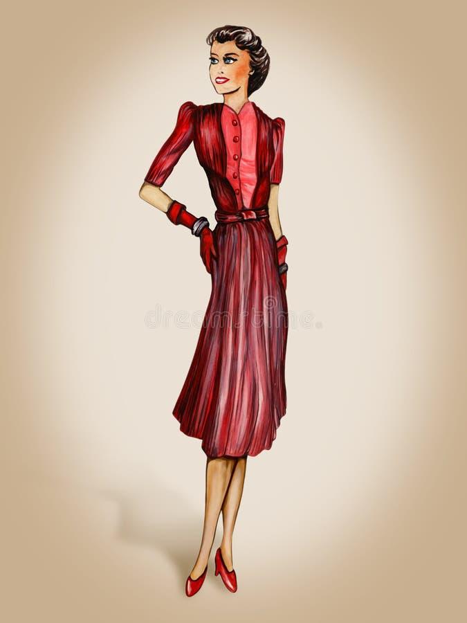 moda retro ilustracji