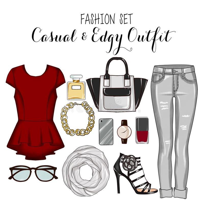 Moda set kobieta odziewa, akcesoria i but klamerki sztuki set, ilustracji