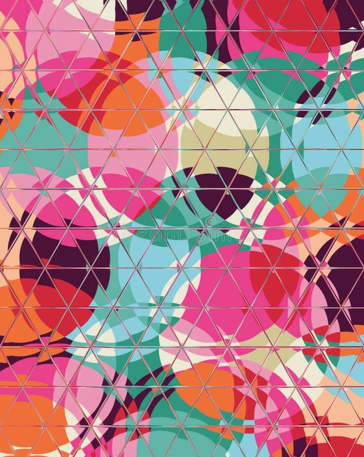 Moda sim?trica del caleidoscopio del modelo incons?til geom?trico cuadrado colorido abstracto del hex?gono ilustración del vector