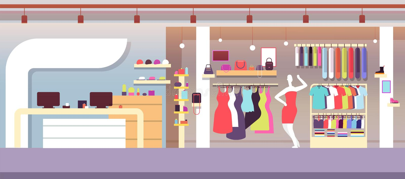 moda sklep Butik mody sklep z kobietą odzieżową i kobiet torbami Zakupy centrum handlowego wektoru wnętrze royalty ilustracja