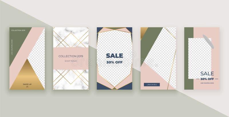 Moda szablony dla Instagram opowieści Nowożytny pokrywa projekt dla ogólnospołecznych środków, ulotki, karta ilustracji