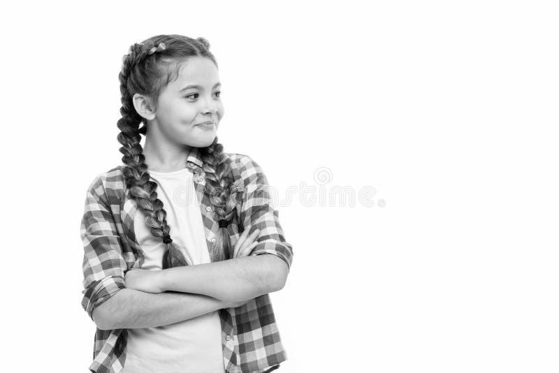 Moda trend Dziecko ma?ej dziewczynki kolorowych warkoczy modna fryzura odizolowywa? biel Nastoletni mody poj?cie zdjęcia stock