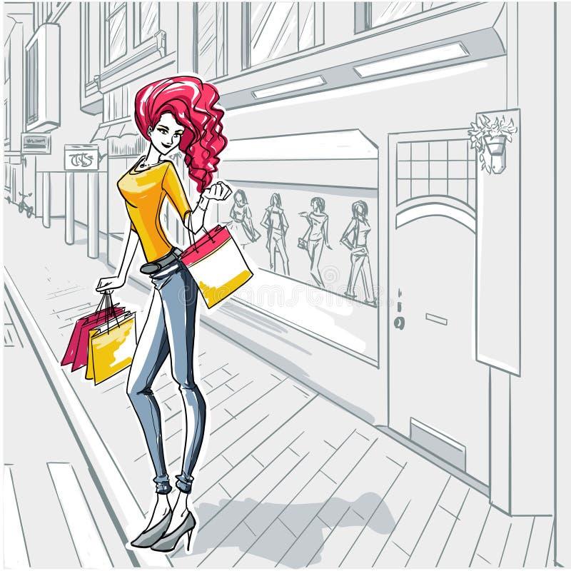 Moda urbana. Ciudad y gente libre illustration