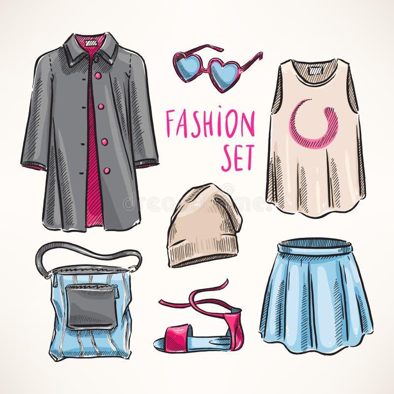 Moda ustawiająca z kobiety odzieżą ilustracji