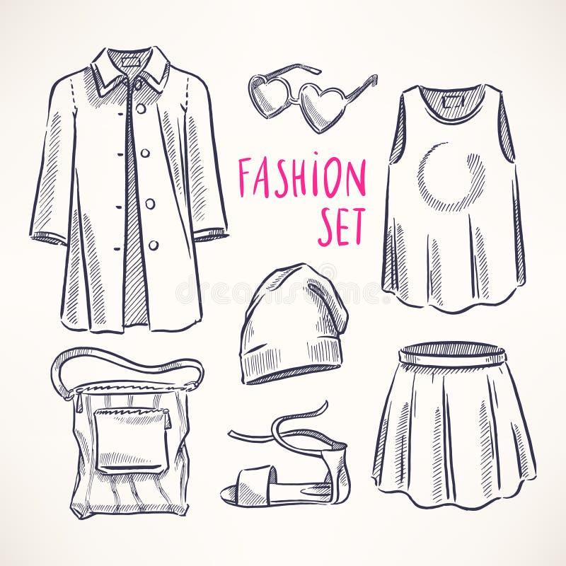 Moda ustawiająca z kobiety odzieżą - 2 royalty ilustracja