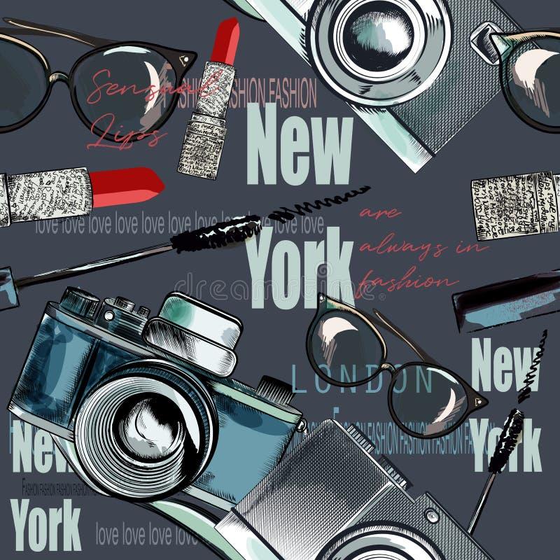 Moda wektoru wzór z pomadką, kamera, szkła, formułuje Ne royalty ilustracja