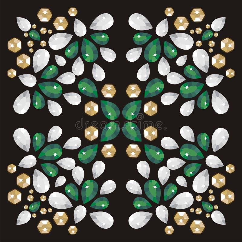 Moda wzór od brylanta dryluje jedwabniczego szalika royalty ilustracja