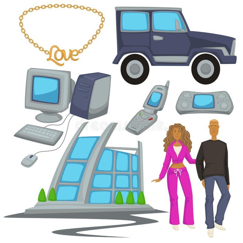 moda y tecnologías del estilo 2000s, símbolos de la época, hombre y mujer stock de ilustración