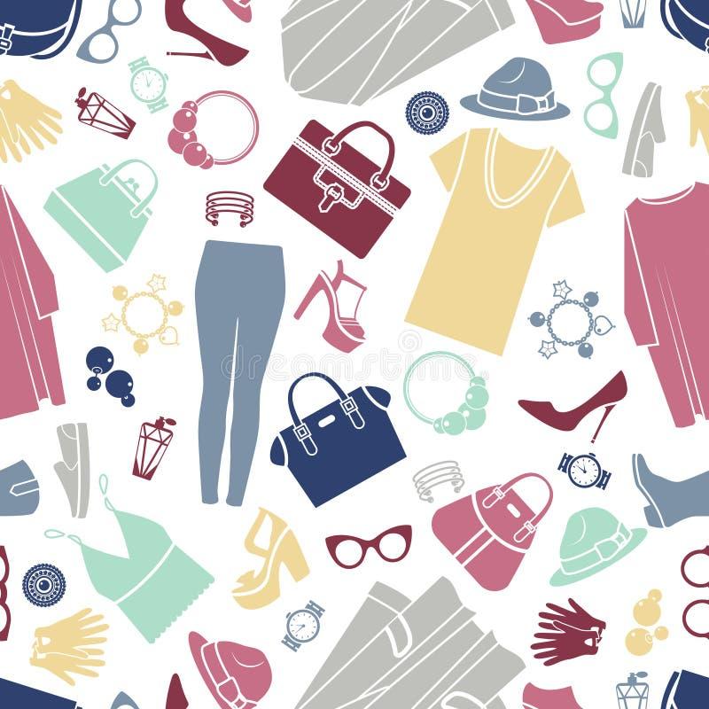Moda zakupy ikon bezszwowy wektorowy tło ilustracja wektor