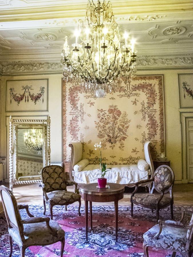 Modave slott eller slott av räkningarna av Marchin i Belgien, inre royaltyfri fotografi