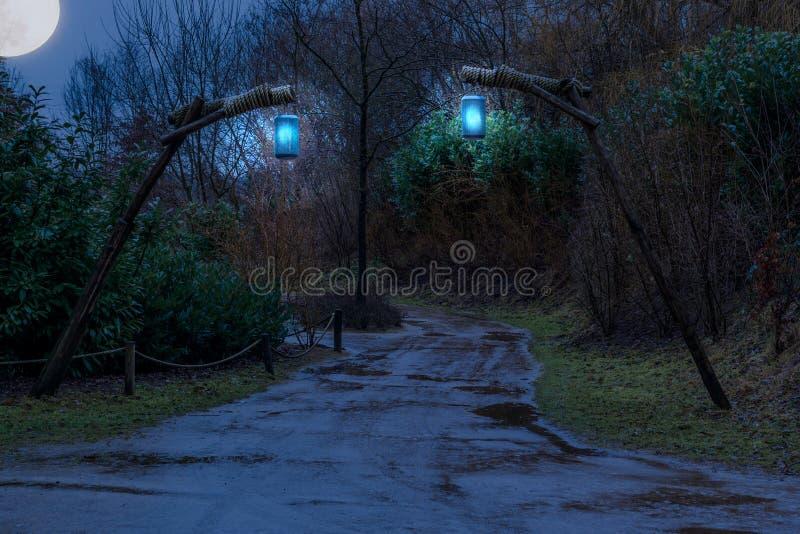 Modderige bosweg bij nacht met aangestoken lantaarns die op houten polen, fantasie of griezelige scène hangen stock foto's
