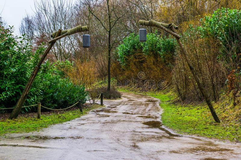 Modderige bosweg op een regenachtige dag, uitstekende lantaarns die op houten polen als decoratie hangen en verlichting, landscha royalty-vrije stock foto's