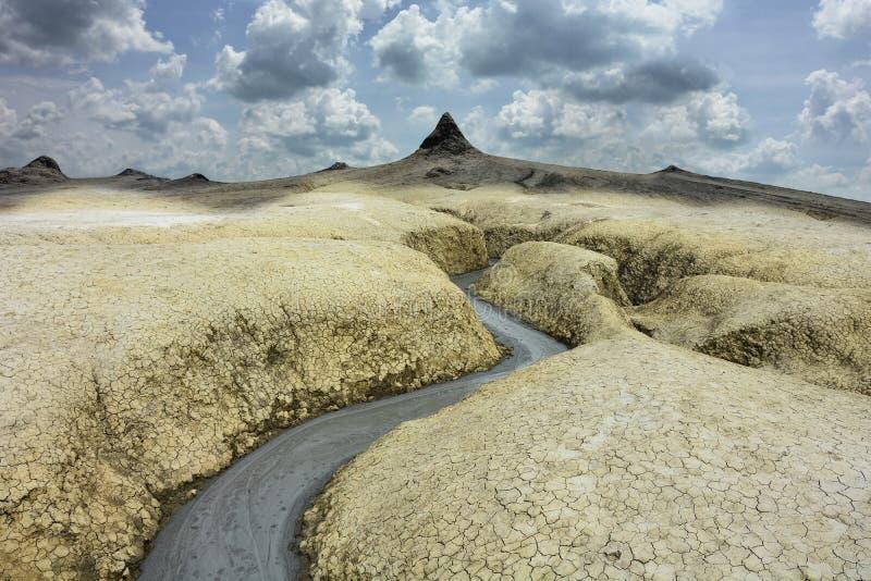 Moddervulkanen in Buzau, Roemenië royalty-vrije stock foto's