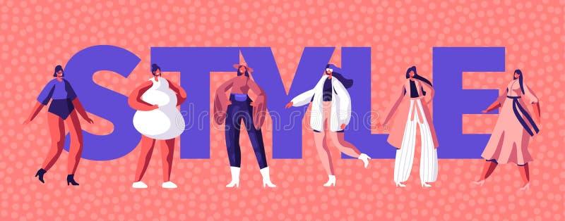 Mode-Art-Mädchen-Charakter-Typografie-Fahnen-Entwurf Modell Woman Shopping an der Stadt-Straße für Art Party Frühlings-weibliche  vektor abbildung