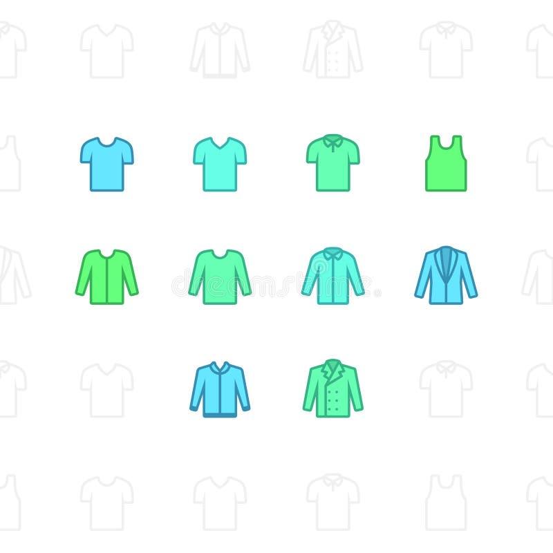 Mode beklär symboler, slaglängden för 2 PIXEL & upplösning 60x60 royaltyfri illustrationer