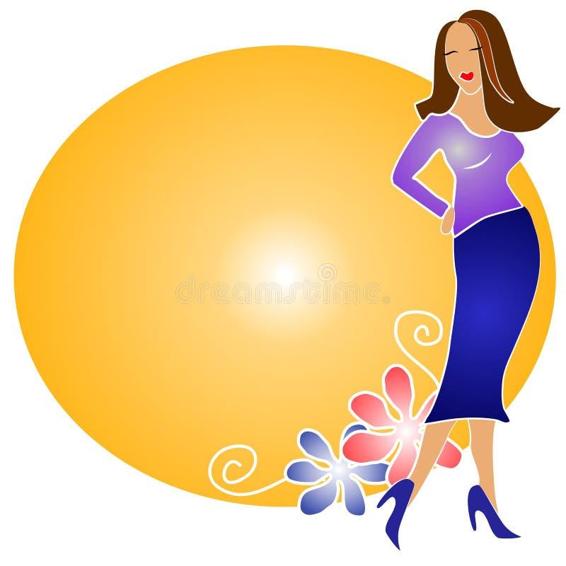 Mode-blondes Mädchen Logo Gold Stockfoto