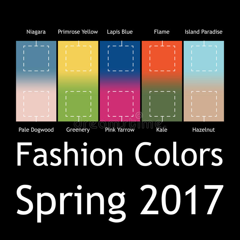Mode brouillée infographic avec des couleurs à la mode du ressort 2017 Niagara, jaune de primevère, bleu de lazulite, flamme, île illustration libre de droits