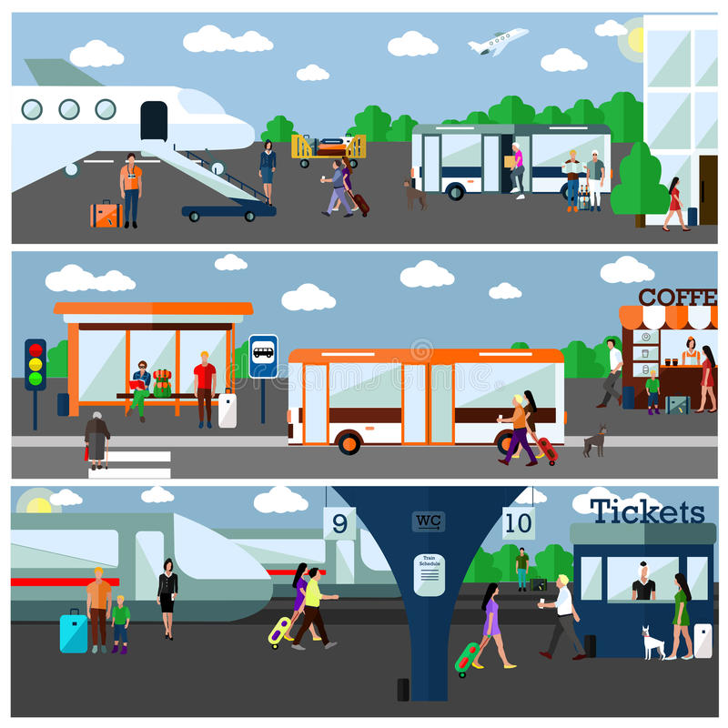 Mode d'illustration de concept de transport Aéroport, autobus et gares ferroviaires Le transport de ville objecte, transporte, s' illustration stock