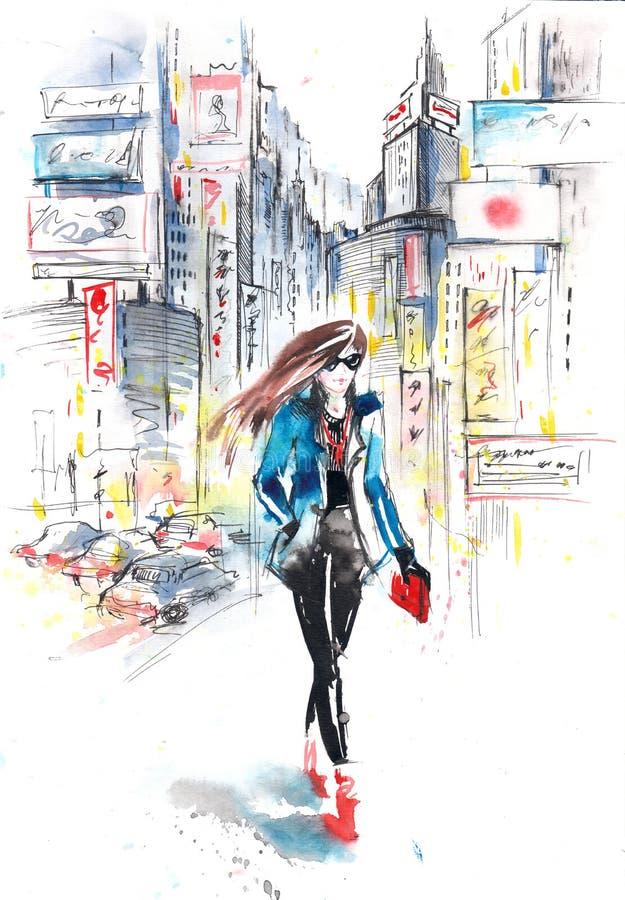Mode dans la ville illustration de vecteur