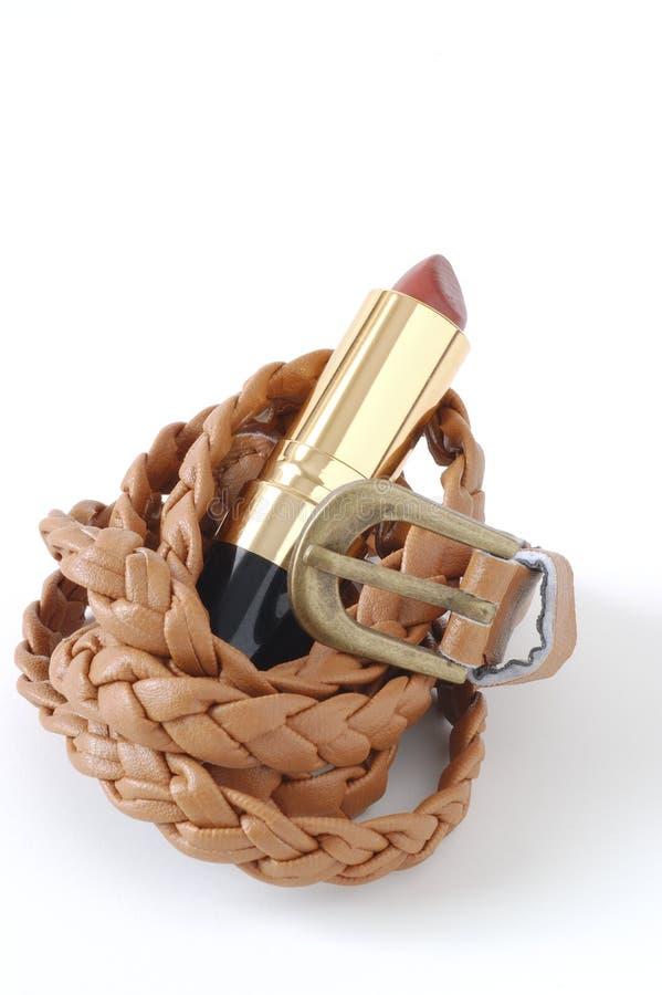 Mode de ceinture et de rouge à lèvres photo stock