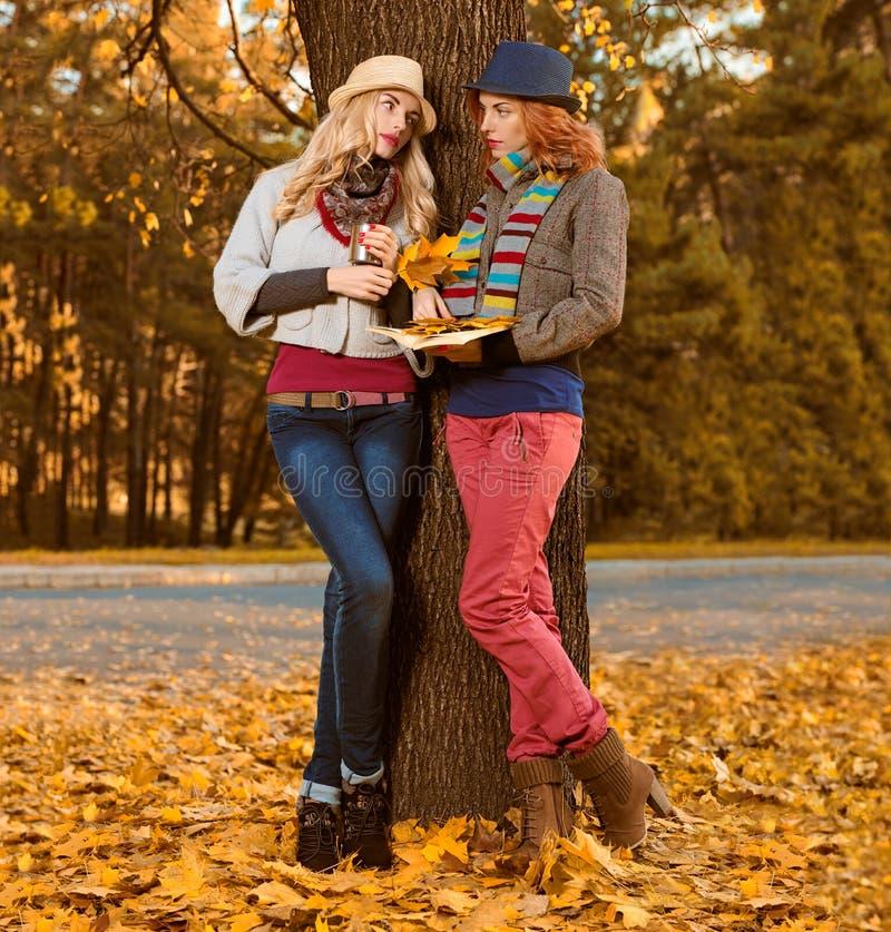 Mode de chute Promenade de femme d'amis en parc d'automne images stock